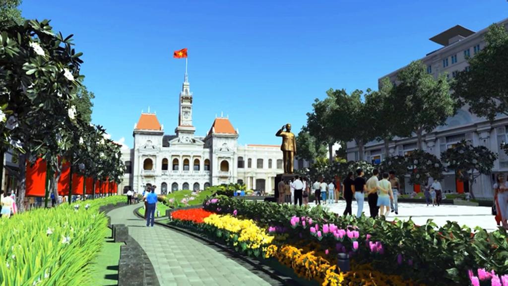 Tượng đài Chủ tịch Hồ Chí Minh đặt tại phố đi bộ Nguyễn Huệ là công trình chào mừng kỷ niệm 40 năm Ngày giải phóng miền Nam, thống nhất đất nước. Ảnh: tuyengiao.vn