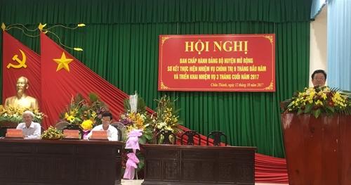 Hội nghị huyện ủy sơ kết thực hiện nhiệm vụ chính trị 9 tháng đầu năm 2017