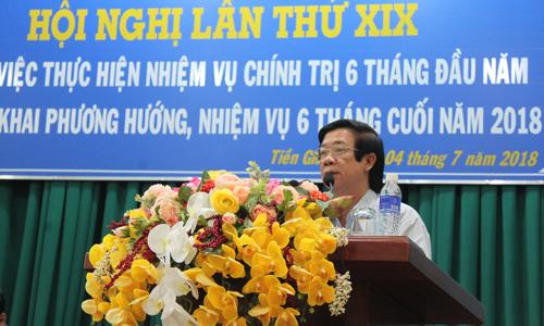 Đồng chí Nguyễn Văn Danh, Ủy viên Trung ương Đảng, Bí thư Tỉnh ủy phát biểu chỉ đạo tại hội nghị