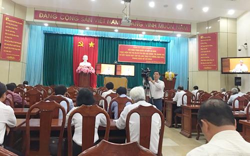 Đồng chí Trần Quốc Vượng, Ủy viên Bộ Chính trị, Thường trực Ban Bí thư Trung ương Đảng phát biểu chỉ đạo hội nghị