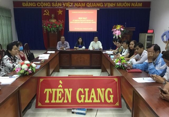 Toàn cảnh họp mặt kỷ niệm 91 năm Ngày thành lập Đảng và Hội nghị trực tuyến tại điểm cầu Tiền Giang.